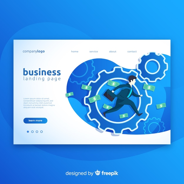 Business modern landing page Free Vector
