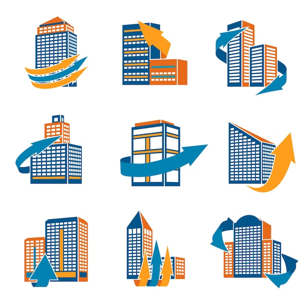 Business modern urban office buildings with\ arrows icons isolated vector illustration