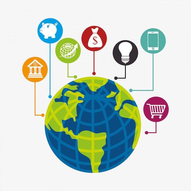 Business, money and global economy Premium Vector