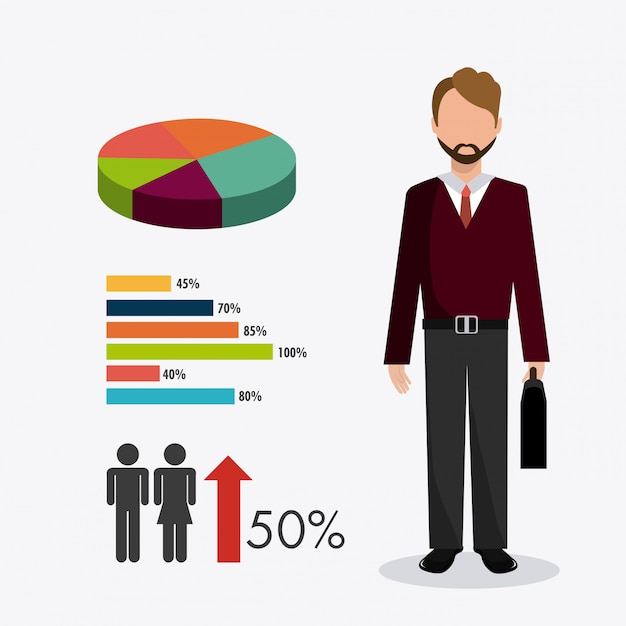 Business, money  and human resources Free Vector