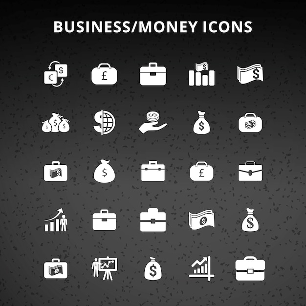 Business money icons Free Vector