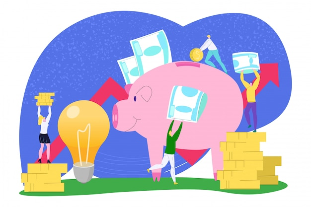 Business money saving,  financial coin  illustration. man woman people bank investment for cartoon idea, income concept. success cash economy in pig, teamwork profit . Premium Vector
