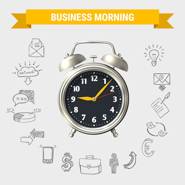 Business morning round composition Free Vector