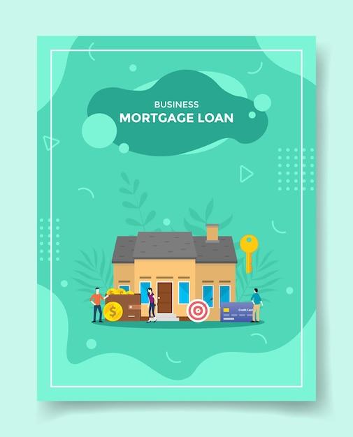비즈니스 모기지 론 사람들 프론트 하우스 지갑 대상 계획 카드 은행 키 프리미엄 벡터