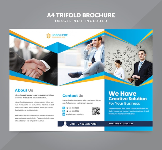 Business multipurpose a4 trifold brochure vector template Premium Vector