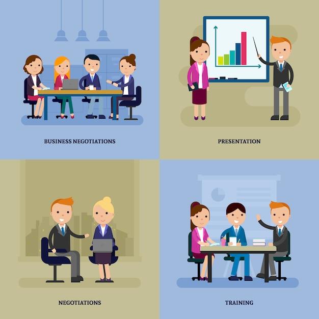 Modello piatto di negoziazione aziendale Vettore gratuito