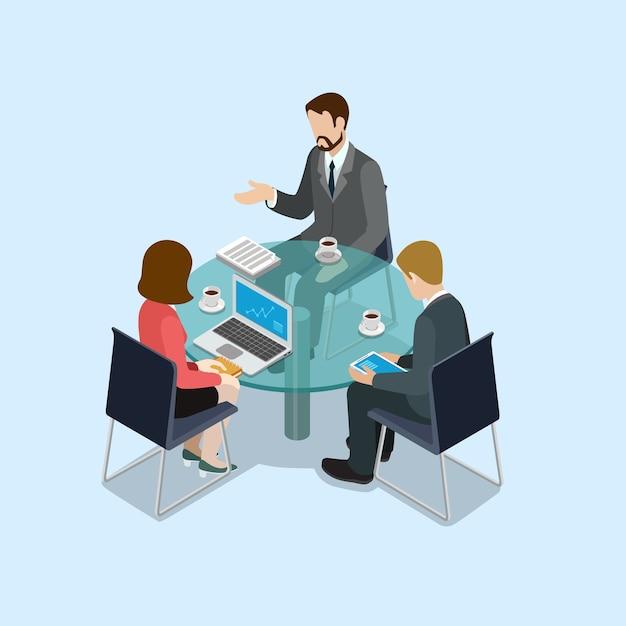 Концепция деловых переговоров плоская 3d веб изометрическая Premium векторы