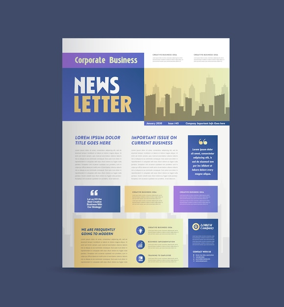 Дизайн обложки бизнес-бюллетеня Premium векторы