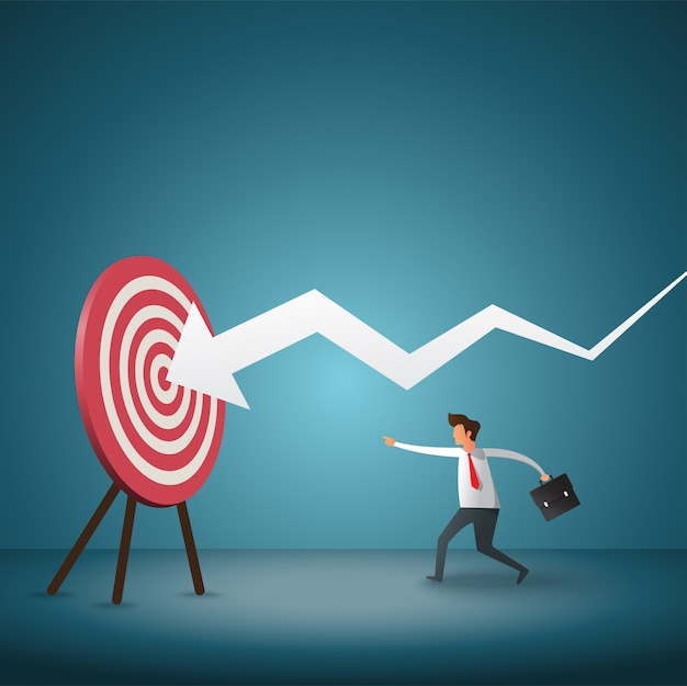 Business objective and strategy. businessman throwing dart at arrow. Premium Vector