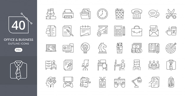 Business office icon set Premium Vector