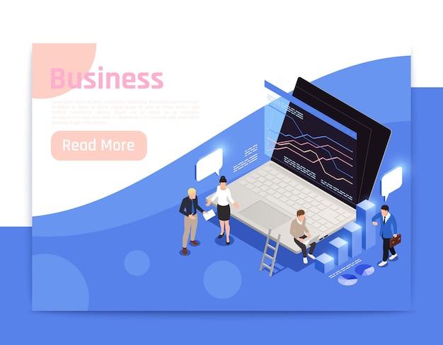 Progettazione isometrica della pagina dell'ufficio di affari con l'illustrazione di simboli di crescita Vettore gratuito