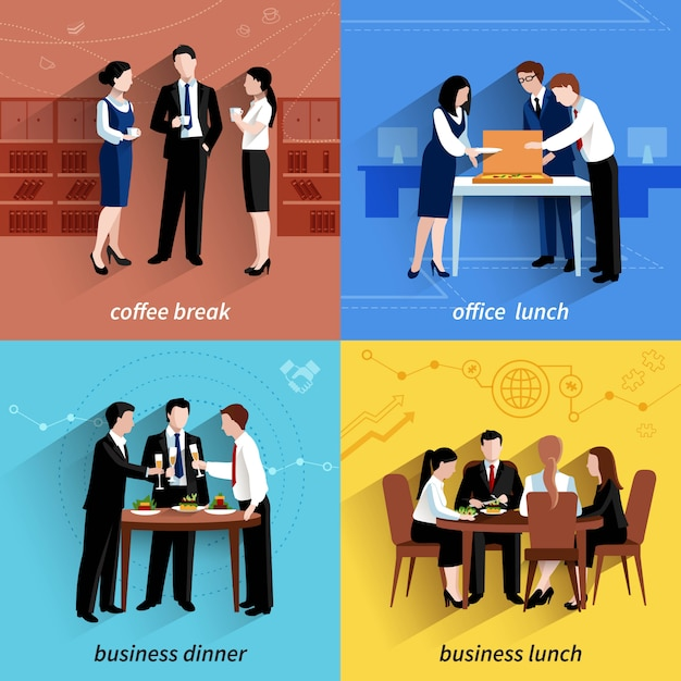 Business office lunch break and coffee pause 4\ flat icons composition square banner