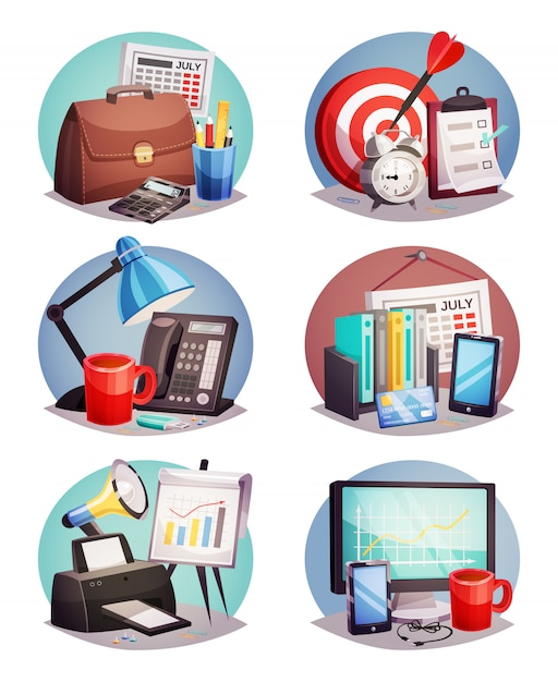 Business office round elements set Free Vector