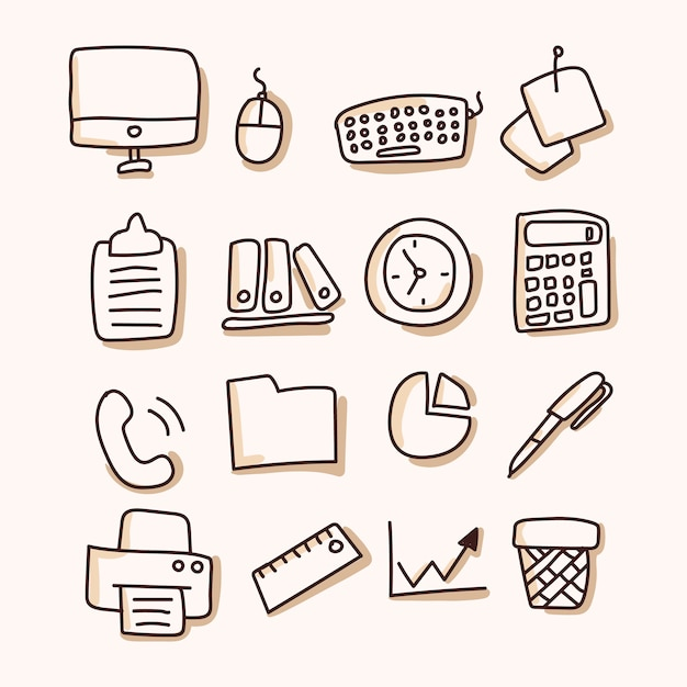 Business, office set of icon. hand draw Premium Vector