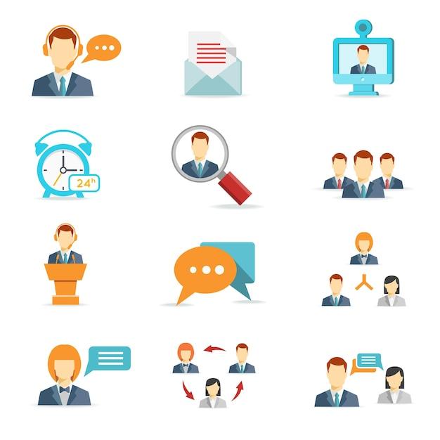 フラットスタイルのビジネスオンライン、コミュニケーション、web会議のアイコン 無料ベクター