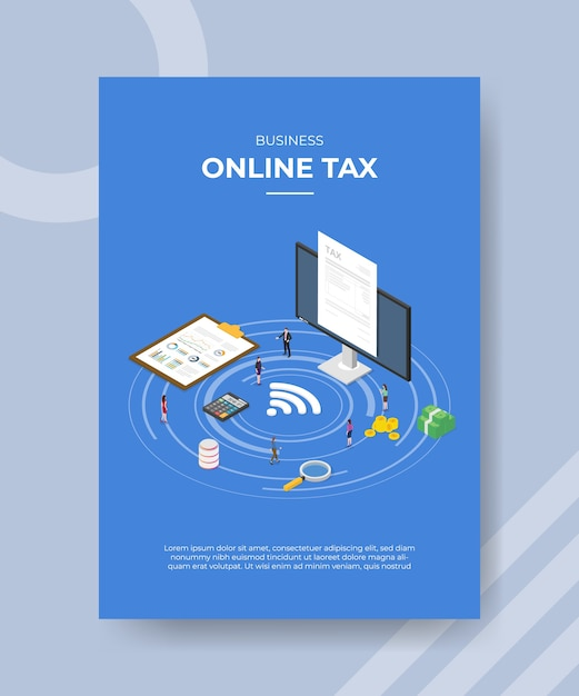 Business online tax flyer template Free Vector