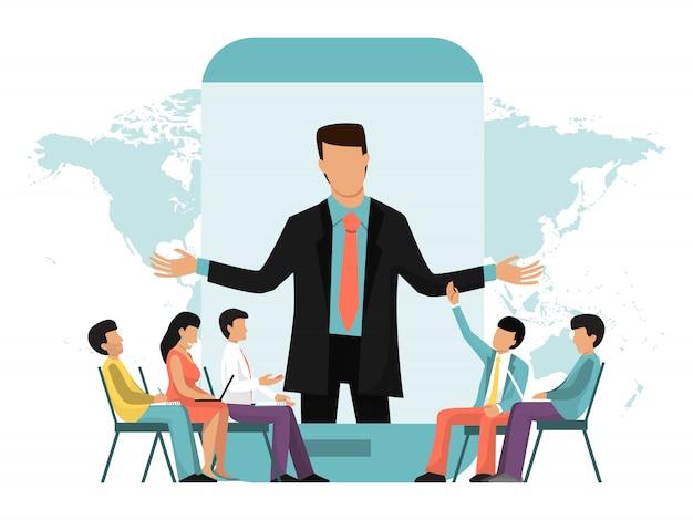 Бизнес онлайн видео встреча, конференция, лекция или вебинар Premium векторы