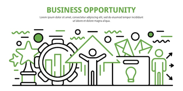 Business opportunity concept banner, cartoon style Premium Vector