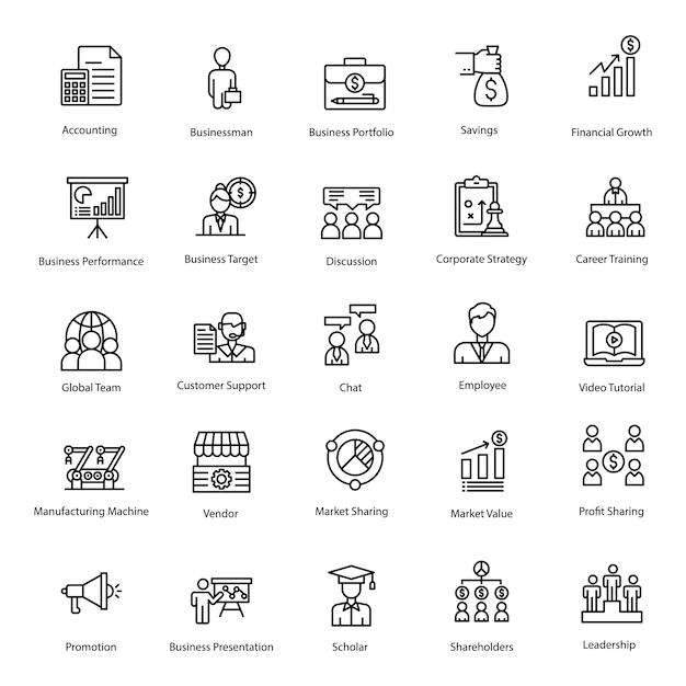 Business pack line icons Premium Vector