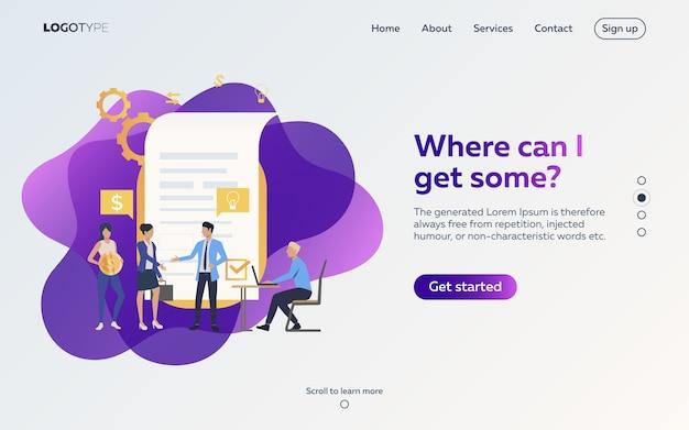 Деловые партнеры договариваются о контрактной веб-странице Бесплатные векторы
