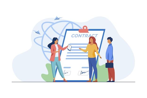 Встреча деловых партнеров. встреча бизнесменов для подписания контракта плоской векторной иллюстрации. трудоустройство, сделка, партнерство Бесплатные векторы