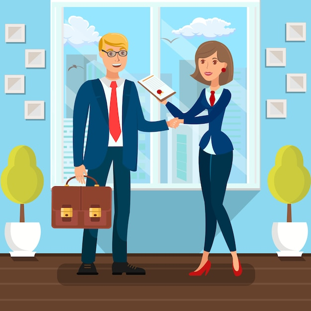Business partners signing agreement Premium Vector