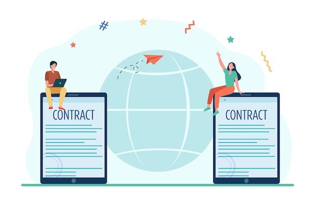 Деловые партнеры подписывают договор онлайн Бесплатные векторы