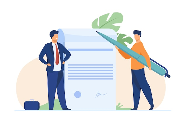 Business partners signing document. tiny characters with pen, paper with signature and seal flat illustration. Free Vector
