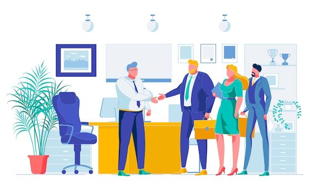 Бизнес-партнеры успешные переговоры мультфильм Premium векторы