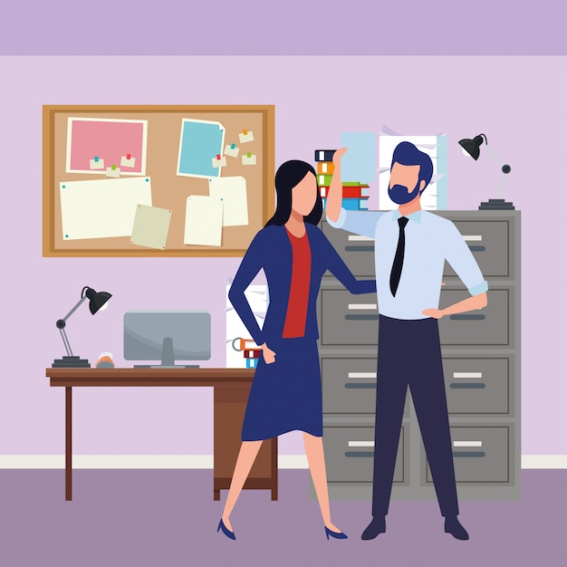 Business partners with documents Free Vector