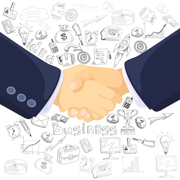 Business partnership concept icons composition poster Free Vector