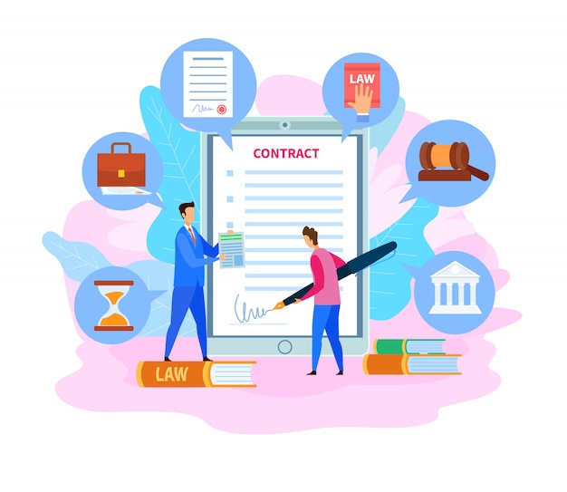 Business partnership contract, cartoon agreement Premium Vector