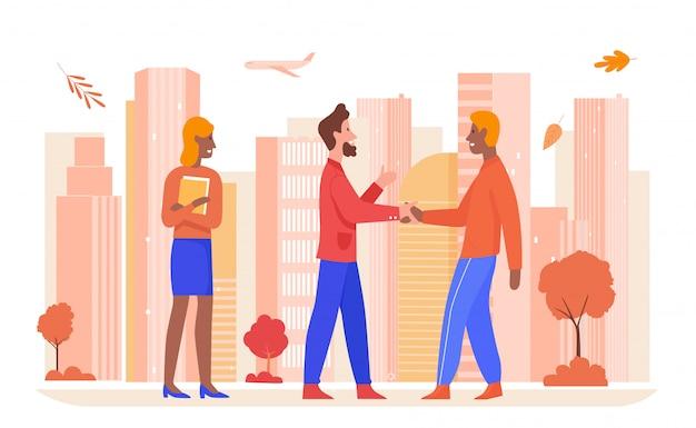 ビジネスパートナーシップの図。パートナーと手を振って漫画幸せなビジネスマン、白の落ちたオレンジ色の葉を持つ現代の秋の街並みで成功した秋の契約 Premiumベクター