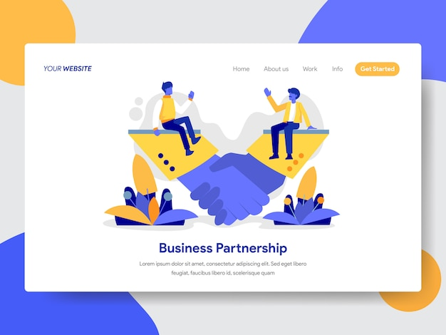 Business partnership illustration for web page Premium Vector