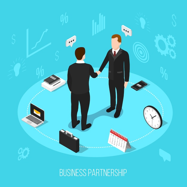 Business partnership isometric background Free Vector