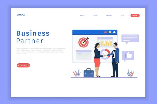 Целевая страница делового партнерства Premium векторы