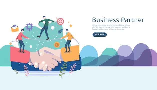 Business partnership relation with hand shake and tiny people character. teamwork concept. Premium Vector