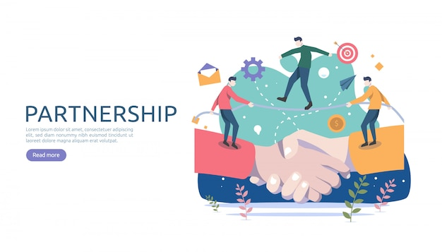 Business partnership relation with hand shake and tiny people character. Premium Vector