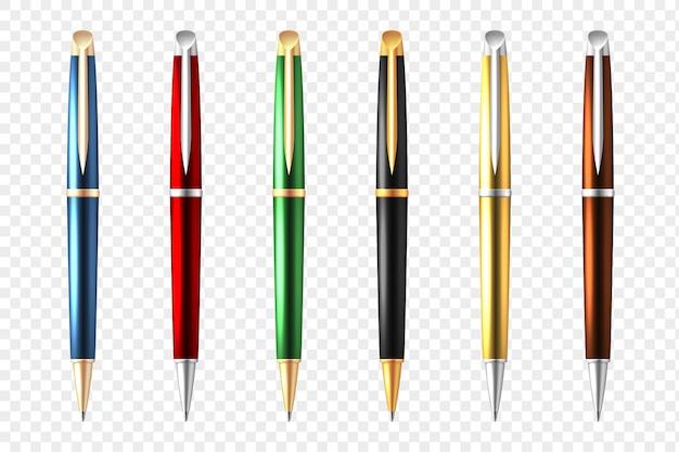 Прозрачный набор business pen Бесплатные векторы