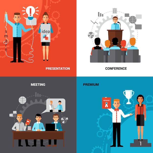 Business People 4 Flat Icons Composition