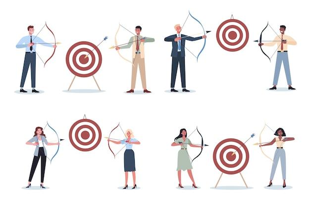 ターゲットを狙い、矢をセットして射撃するビジネスマン。従業員はターゲットを撃ちます。野心的な男と女の射撃。成功とモチベーションのアイデア。 Premiumベクター
