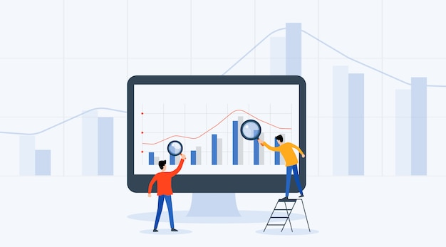 Business people analytics and monitoring investment and finance report graph Premium Vector