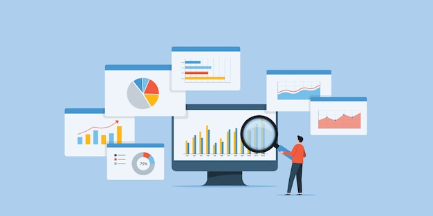 Business people analytics and monitoring investment Premium Vector