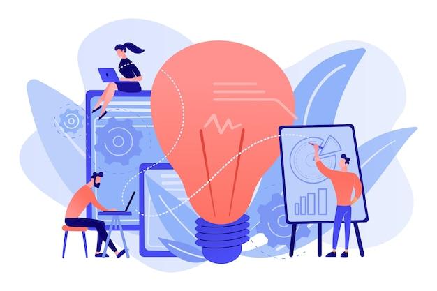 Деловые люди анализируют и лампочку. конкурентная разведка и концепция анализа окружающей среды, информации и рынка на белом фоне. Бесплатные векторы
