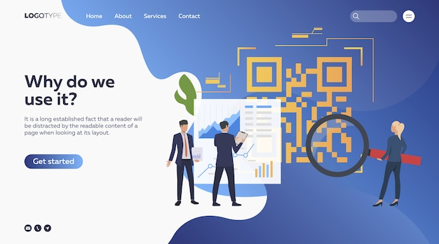 Business people analyzing barcode Free Vector