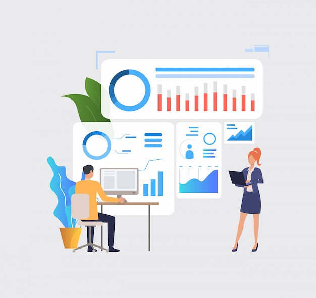 Business people analyzing financial charts on computers Free Vector