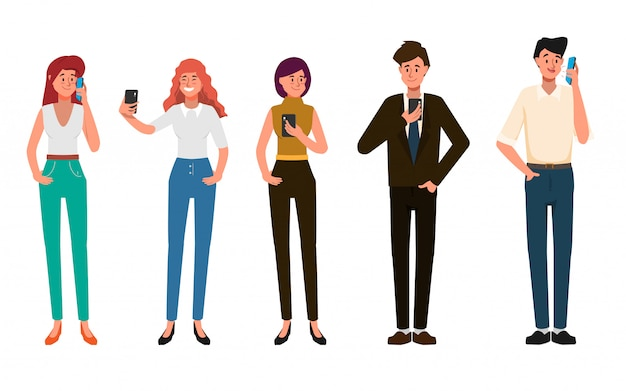 Business people are using mobile phone for social media network communication . Premium Vector