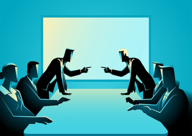 Premium Vector | Business people arguing at meeting room