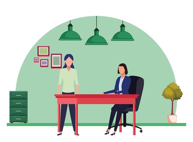 Business people avatars cartoon character Premium Vector