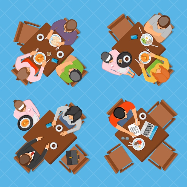 Business people in cafe top view composition Free Vector